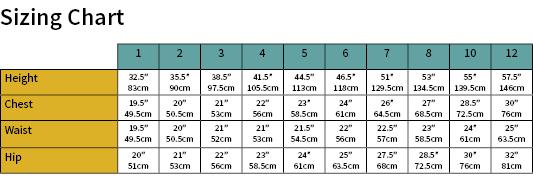 Skip Skirt Size Chart