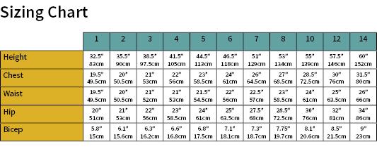 Fun Tee Dress Size Chart