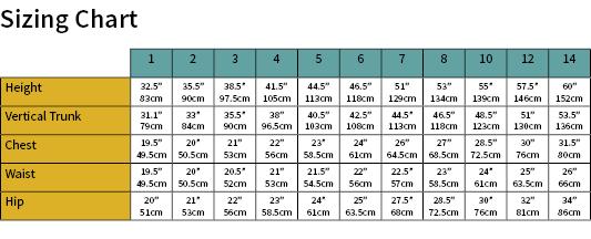 Stinger Suit Size Chart