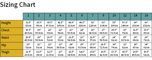 Norma Jean Juniors Size Chart