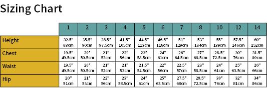 Girls Sport Dress Size Chart